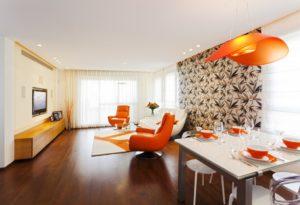 Living room with orange theme