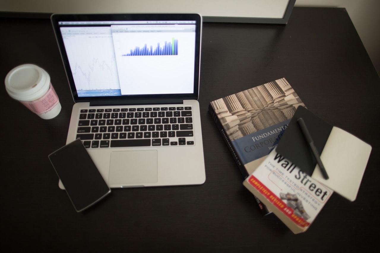 bar graph on a laptop