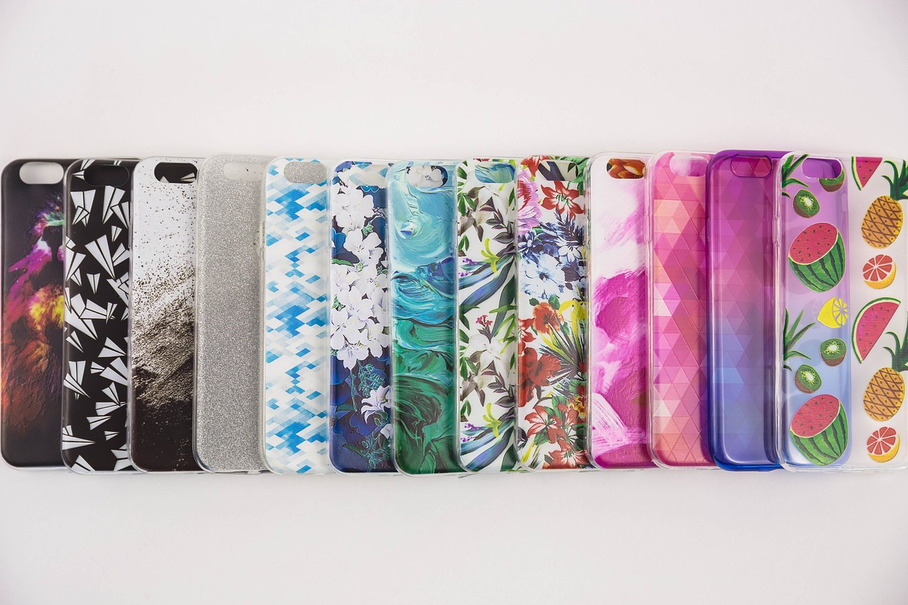 phone cases in a row