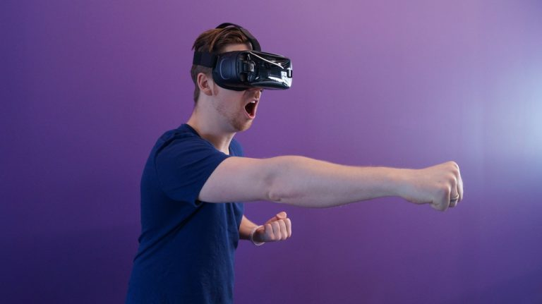 man using VR goggles