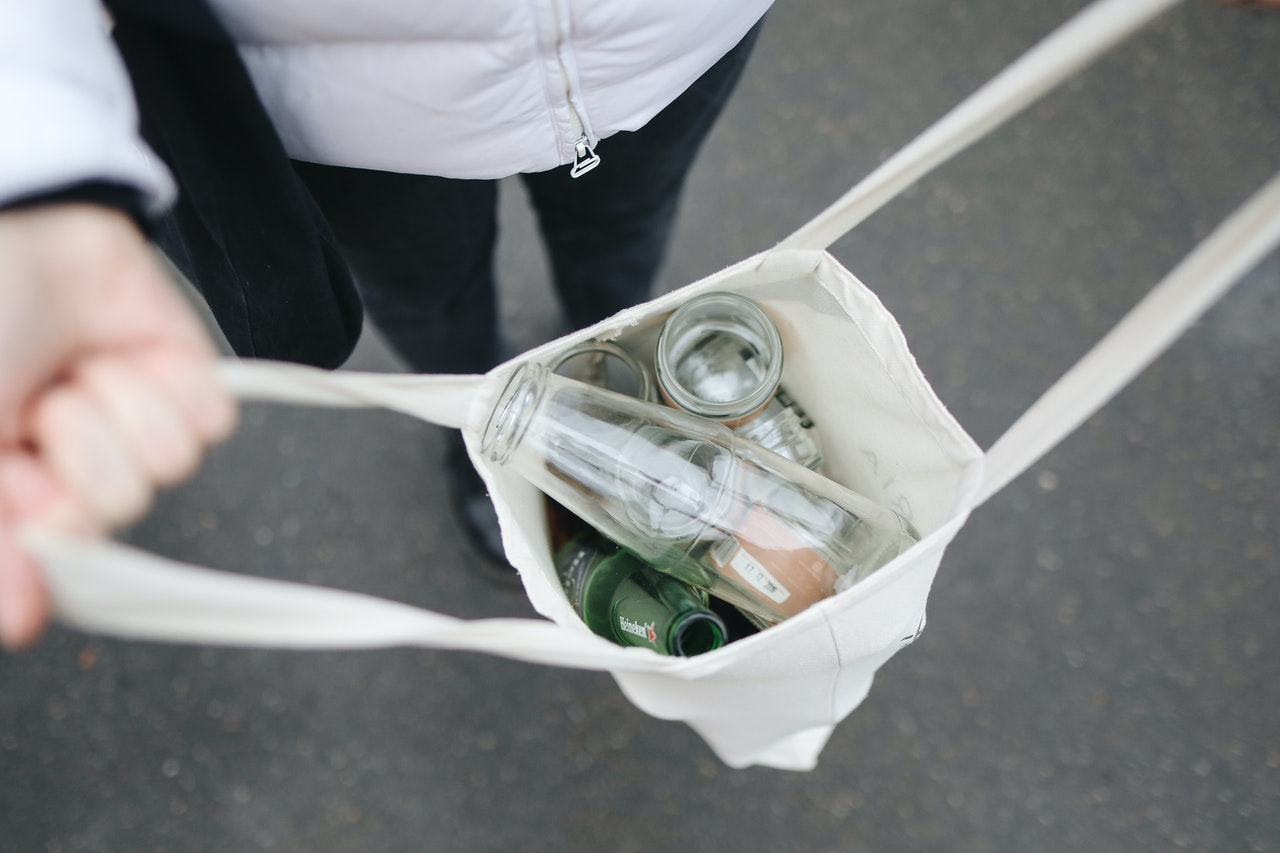 bag filled with glass containers