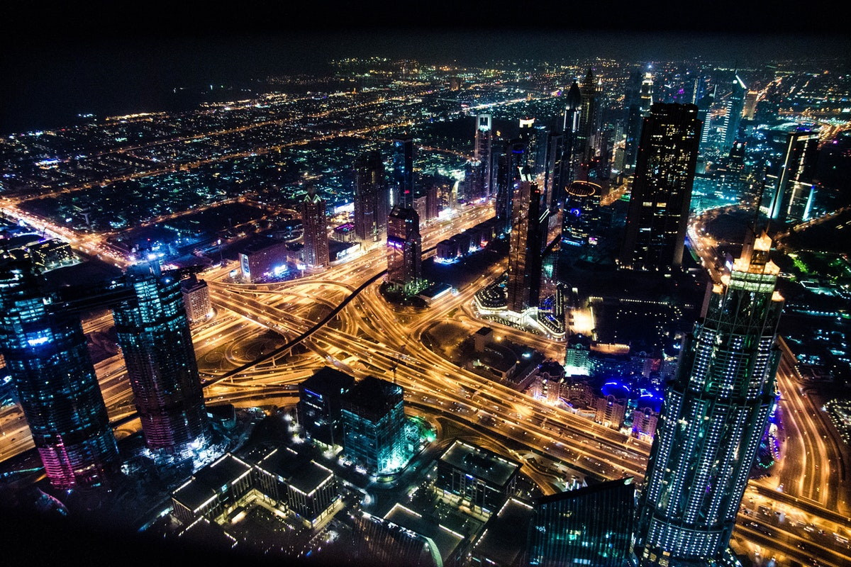 overhead view of city at night