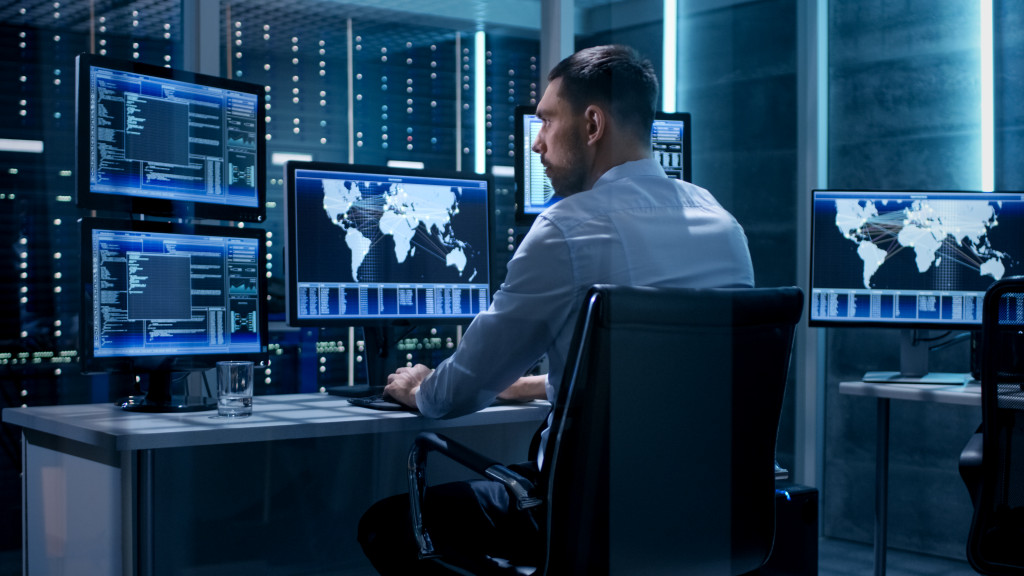 man checking cybersecurity