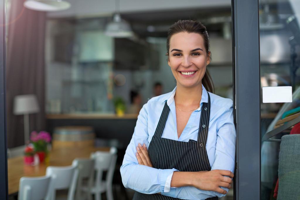 waitress standing in doorway